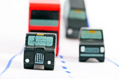 Traffic: three car and one bus (left focus). Traffic: three car and one bus - left focus Stock Image