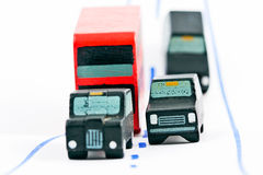 Traffic: three car and one bus (right focus). Traffic: three car and one bus right focus stock photography