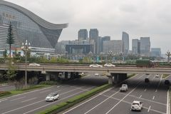 Traffic on Tianfu avenue in Chengdu. Chengdu, Sichuan Province, China - Sept 13, 2018 : Car traffic on Tianfu avenue with with Global Center building and stock image