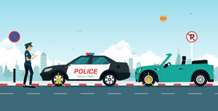 Traffic ticket. Police are writing a traffic ticket to a car parked in a no parking Royalty Free Stock Photo