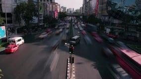 TRAFFIC TIME LAPSE: Bangkok  - Two lane high angle perspective. Bangkok Traffic Time Lapse - Two lane high angle perspective with roadway divider stock video