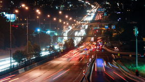 Traffic time lapse at istanbul night stock video footage