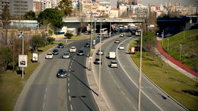 Traffic TimeLapse. A day time time-lapse video of city road in Lisbon, Portugal. Wide shot stock video
