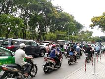Traffic to Ho Chi Minh Vietnam. Road, motorcycles stock image