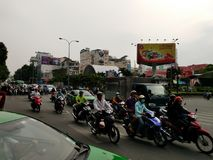 Traffic to Ho Chi Minh Vietnam, road. Motorcycles Royalty Free Stock Images