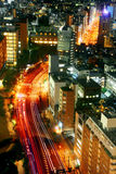 Traffic of Tokyo night from sky view Stock Photo