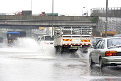 Traffic in Torrential Rain Royalty Free Stock Images