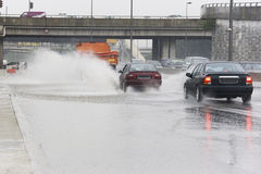 Traffic in Torrential Rain royalty free stock photography
