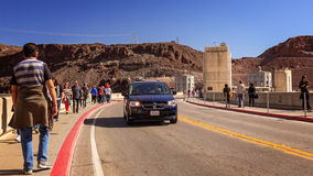 Traffic and Tourists Cross Hoover Dam Royalty Free Stock Photography