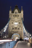 Traffic on The Tower Bridge at night in London, UK Royalty Free Stock Photo