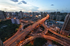 Traffic tracks throughout the city Stock Image