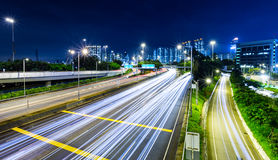 Traffic trail on highway Stock Photography
