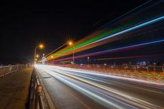 Traffic trail at night. Traffic trail on bridge at night Royalty Free Stock Images