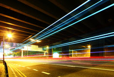 Traffic trail pass though underpass Royalty Free Stock Image