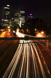 Traffic Trails Through the City Royalty Free Stock Images