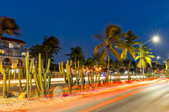 Traffic trails on JE Irausquin boulevard in Aruba stock images