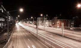 Traffic trails at night. In Zurich suburbs royalty free stock photo