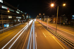 Traffic trails at night. In Zurich suburbs royalty free stock photography