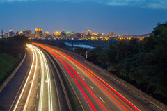 Traffic trails in the night. Light trails of highway in Hsinchu, Taiwan Royalty Free Stock Photography