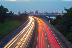Traffic trails in the night. Light trails of highway in Hsinchu, Taiwan Stock Photography