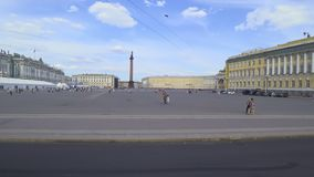 Traffic in the transport past Palace Square, St. Petersburg, Russia. stock video footage