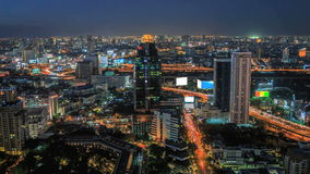 Traffic and transportation in Bangkok at night. Aerial view of traffic and transportation in Bangkok at night (timelapse stock footage