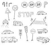 Traffic and transportation set stock illustration