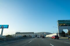 Traffic travels on the expressway in San Francisco, CA