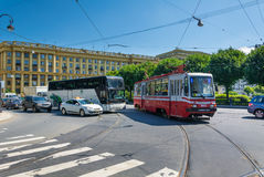 Traffic on Trinity Square, St. Petersburg, Russia Royalty Free Stock Photography