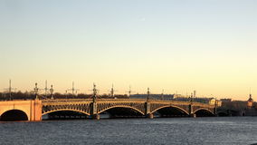 Traffic on the Troitsky Bridge located on the Great River Neva.  stock video footage