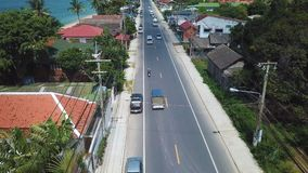 Traffic on Tropical Island. Aerial View. Shot with a DJI Mavic fps29,97 4k stock video