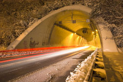 Traffic in the tunnel. Night traffic in the tunnel Royalty Free Stock Photos