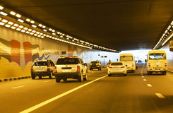 Traffic in Tunnel at Dubai, UAE. Image of traffic in a tunner at downtown Dubai, United Arab Emirates Royalty Free Stock Image