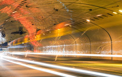 Traffic in the tunnel, long exposure Royalty Free Stock Photos