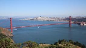 Traffic on and under Golden Gate Bridge stock footage