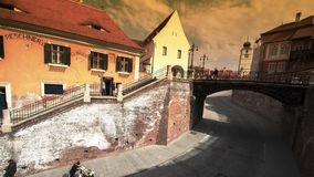 Traffic under and over the Bridge of Lies, Sibiu stock footage
