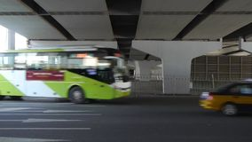 Traffic under overpass in city. This is traffic under overpass in city stock video footage