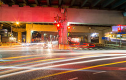 Traffic on an Underpass. In Toronto at night Stock Image