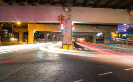 Traffic on an Underpass. In Toronto at night Royalty Free Stock Images