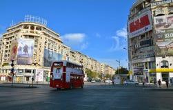 Traffic in Union Square Piata Unirii downtown of Bucharest. BUCHAREST, ROMANIA - SEPTEMBER 13, 2017. Traffic in Union Square Piata Unirii downtown of Bucharest Royalty Free Stock Photos