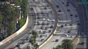 Traffic on the US-101 Hollywood freeway during a weekday afternoon stock video footage