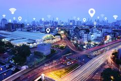Traffic,vehicles, wireless communication network. Internet of things, abstract image visual royalty free stock image