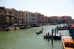 Traffic in Venice Grand Canal in a beautiful sunny day. Stock Images