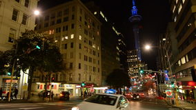 Traffic on Victoria Street in Auckland Downtown at night. stock footage