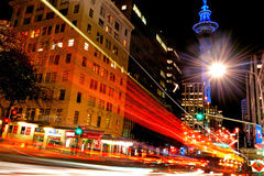 Traffic on Victoria Street in Auckland Downtown at night Stock Image
