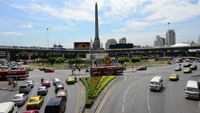 Traffic on the Victory Monument in Bangkok stock footage