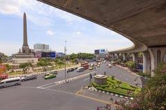 Traffic at Victory Monument. Bangkok, Thailand - July 23, 2015: Traffic at Victory Monument in Bangkok, Thailand Stock Image