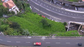 Traffic view from above in mountain area. View of transport on the roads from above in the mountain area stock video footage
