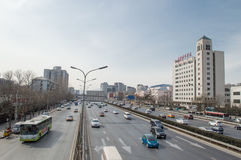 Traffic  views in beijing. On the main roads, Beijing traffic scenery,This photo was taken on March 9, 2014 Royalty Free Stock Images