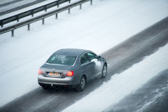 Traffic in Vilnius during winter snowstorm Stock Photos